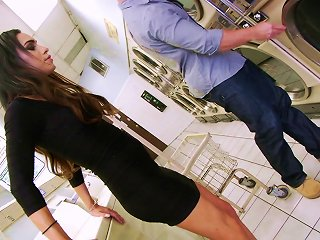 ANYPORN @ Horny Guy And A Shemale Sucking And Fucking In A Laundry Room