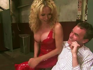 ANYPORN @ Blonde Tranny Gia Darling Tortures A Man And Makes Him Suck Her Dick